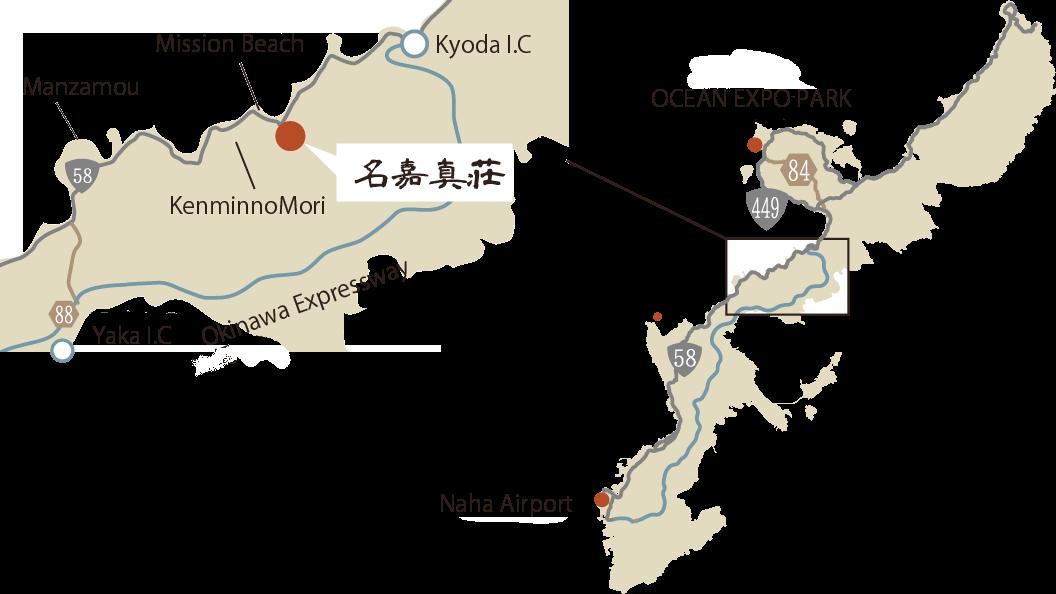 海の旅亭までの道程の地図